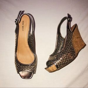 Nine West metallic wedges